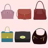 Women`s fashion collection of bags. Flat style Royalty Free Stock Photo