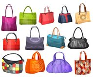 Women's fashion collection of bags. Stock Photo