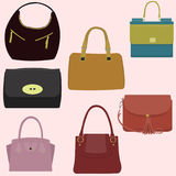 Women`s fashion collection of bags. Vector illustration Royalty Free Stock Photos