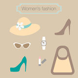 Women's fashion collection of beige accessories Royalty Free Stock Images
