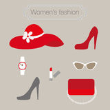 Women's fashion collection of red accessories Stock Photos