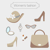 Women's fashion collection of sandybrown accessories Stock Image