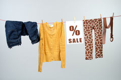 Women's fashion discount on the clothesline Royalty Free Stock Photo