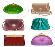 Women`s fashion handbags summer theatrical evening of tissue and skin with jewelry stones and ornaments Stock Images