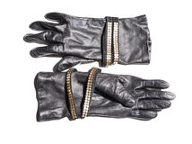Women's fashion leather gloves Stock Photo
