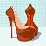 Women`s fashion red shoes in the background. There is a vector image Royalty Free Stock Photos