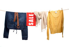Women's fashion sale on the clothesline Stock Images