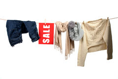 Women's fashion sale on the clothesline Royalty Free Stock Image