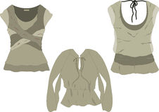 Women's fashion tops  sketches. Fashionable women's  top sketches with draping and movement shadowing details Royalty Free Stock Photos
