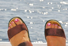Women's Feet on Beach Royalty Free Stock Image