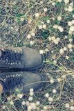 Women`s feet with brown women boots in the flower field. Women`s feet with brown women boots in the flower field background Stock Photo