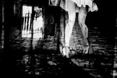 Silhouette of a woman in a dark alley of the city. Women`s feet in heels in a dark alley of the city, Women`s feet in heels in a dark alley of the city royalty free stock photography