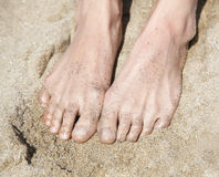 Women's feet in  sand Stock Images