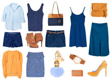 Women's female clothes isolated collage set. Royalty Free Stock Photo