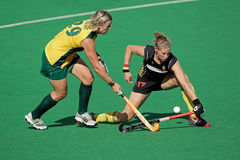 Women's field hockey. Tarryn Bright and Anne-Sophie van Regemortel in action during a women's field hockey match between South Africa and Belgium (South Africa Stock Photography