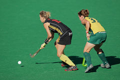 Women's field hockey. Charlotte de Vos and Celia Evens in action during a women's field hockey match between South Africa and Belgium (South Africa won 4-1) Royalty Free Stock Image