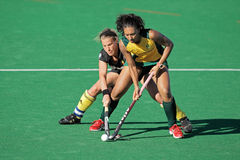 Women's field hockey. Marsha Marescia and Gaelle Valcke in action during a women's field hockey match between South Africa and Belgium (South Africa won 4-1) Royalty Free Stock Photo