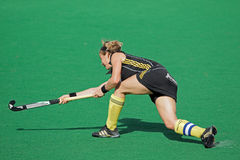 Women's field hockey. Gaelle Valcke of Belgium in action during a women's field hockey match between South Africa and Belgium (South Africa won 4-1) Royalty Free Stock Images