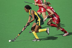 Women's field hockey. Leslie-Ann George and Emilie Sinia in action during a women's field hockey match between South Africa and Belgium (South Africa won 3-2) Royalty Free Stock Photography