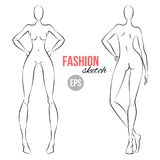 Women`s figure fashion sketch. Template for designers of clothes. Different poses. Vector illustration. Women`s figure fashion sketch. Template for designers of Royalty Free Stock Photo