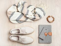 Women`s flat lay clothes shoes, scarf, bracelet, bag, tablet, sm Stock Images