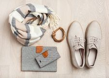 Women`s flat lay clothes shoes, scarf, bracelet, bag, tablet, sm Royalty Free Stock Images