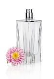 Women's  flower perfume in beautiful bottle isolated on white Royalty Free Stock Photo