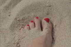 Women's foot. With painted nails red, sprinkled with sand on beach royalty free stock photos