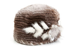 Women's fur hat with the pattern Royalty Free Stock Images