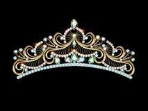 Women's gold diadem tiara with precious stones. Illustration women's gold diadem tiara with precious stones Royalty Free Stock Photos