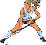 Women`s grass hockey. Playing field, wamen`s play, score a goal, hockey stick Stock Photo