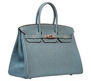 Women's gray leather handbag Royalty Free Stock Photo