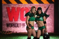 Women's Green and Black Sport Bra Stock Photos