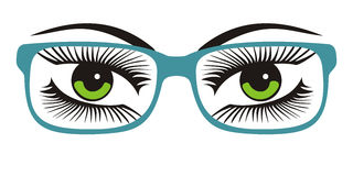 Women`s green eyes with glasses vector illustration