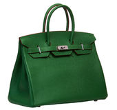 Women's green leather handbag Royalty Free Stock Images