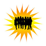 Women's group silhouette Royalty Free Stock Images