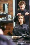 Women's haircut. hairdresser, beauty salon Stock Photos