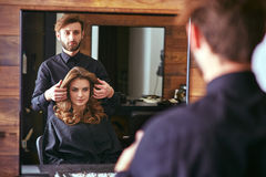 Women's haircut. hairdresser, beauty salon Royalty Free Stock Images