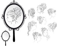 Women's hairstyles, mirror Royalty Free Stock Images