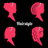 Women's hairstyles with pearl thread. Silhouette. Stock Photo