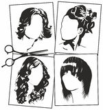 Women's hairstyles. Vector black and white women's hairstyles Royalty Free Stock Photos