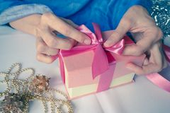 Women`s hand made gift box. Holiday package handmade. Royalty Free Stock Photos