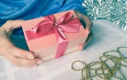 Women`s hand made gift box. Holiday package handmade. Stock Photos
