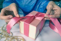 Women`s hand made gift box. Holiday package handmade. Royalty Free Stock Photography