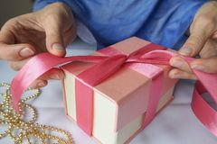 Women`s hand made gift box. Holiday package handmade. Stock Images