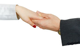 Women's hand in man's hand on white. Women's hand in a man's hand on a white background Stock Images