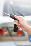 Women's hand presses on the remote control car alarm Stock Image