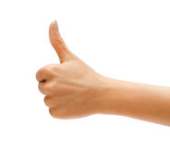 Women's hand with thumb up isolated on white background Royalty Free Stock Photos