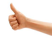 Women's hand with thumb up Royalty Free Stock Image