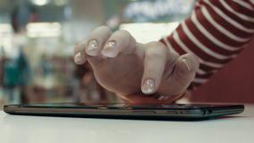 Women's Hand Typing Text On Tablet PC. Women`s Fingers Using Tablet Pc,Typing Text,Chatting stock footage
